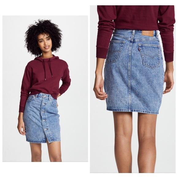 060ec7c676 Levi's Skirts | Levis Premium Stone Wash Button Thru Mom Skirt ...